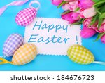 easter eggs with greeting card... | Shutterstock . vector #184676723