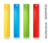 Colored rainbow plastic rulers. Vector illustration set.