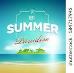 vector summer paradise poster... | Shutterstock .eps vector #184717943
