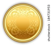round golden medal with pattern ... | Shutterstock .eps vector #184731953