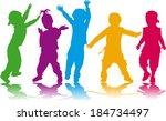 childrens silhouettes | Shutterstock .eps vector #184734497