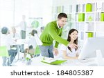 young business people working... | Shutterstock . vector #184805387