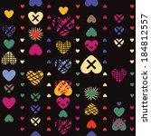 hearts seamless pattern on dark