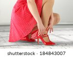 red skirt and woman  | Shutterstock . vector #184843007