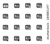 vector black calendar icons set ... | Shutterstock .eps vector #184881197