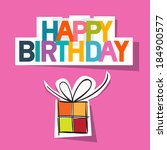 happy birthday card. present... | Shutterstock .eps vector #184900577