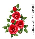 Branch Of Red Roses. Vector...