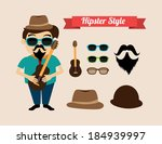 hipster design over beige... | Shutterstock .eps vector #184939997