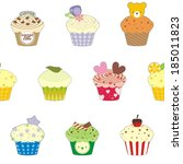 fancy cup cake wallpaper... | Shutterstock .eps vector #185011823