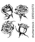 vector illustration flower rose ... | Shutterstock .eps vector #185014373