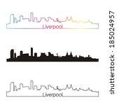 liverpool skyline linear style... | Shutterstock .eps vector #185024957