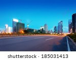light trails on the street at... | Shutterstock . vector #185031413