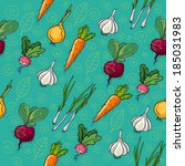 vegetables pattern | Shutterstock .eps vector #185031983