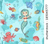 seamless pattern with mermaid.... | Shutterstock .eps vector #185045777