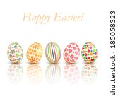 easter eggs colorful patterns... | Shutterstock . vector #185058323
