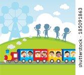 circus train kids. vector... | Shutterstock .eps vector #185091863