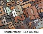vintage letterpress type... | Shutterstock . vector #185103503
