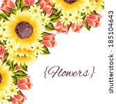 abstract flower background with ... | Shutterstock .eps vector #185104643