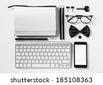overhead of essentials office... | Shutterstock . vector #185108363