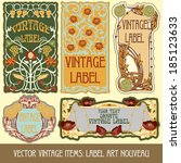 vector vintage items  label art ... | Shutterstock .eps vector #185123633