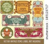 vector vintage items  label art ... | Shutterstock .eps vector #185123717
