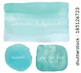 teal blue ombre watercolor... | Shutterstock .eps vector #185126723