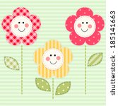 Cute primitive retro flowers with smiling faces as fabric applique - stock vector