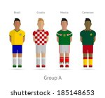 Soccer / Football team players. Group A - Brazil, Croatia, Mexico, Cameroon. Vector illustration.