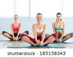 women stretching. three...   Shutterstock . vector #185158343