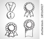 set of sketch prize ribbons.... | Shutterstock .eps vector #185165027