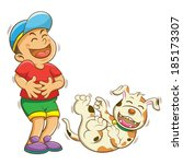 boy and dog laughing.eps10   | Shutterstock .eps vector #185173307
