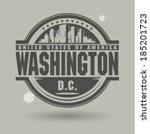 Stamp or label with text Washington, District of Columbia inside, vector illustration