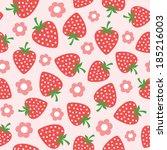seamless strawberry illustration | Shutterstock .eps vector #185216003