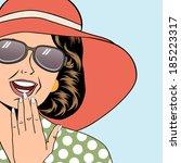 pop art retro woman with sun... | Shutterstock .eps vector #185223317