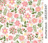 seamless spring floral... | Shutterstock .eps vector #185235347