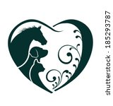 Veterinarian Heart animal love. Horse,dog and cat together. Abstraction of animal care This icon serves as idea of friendly pets, veterinarian business, animal welfare,animal rescue,animal breeder  - stock vector