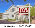 home for sale real estate sign... | Shutterstock . vector #185295647