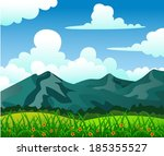 summer landscape with mountain  ... | Shutterstock .eps vector #185355527