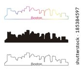 Boston skyline linear style with rainbow in editable vector file - stock vector