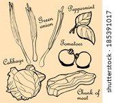 breakfast veggies contour. hand ... | Shutterstock .eps vector #185391017