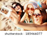summer holidays  technology and ... | Shutterstock . vector #185466077