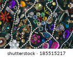 a collage of plastic trinkets... | Shutterstock . vector #185515217