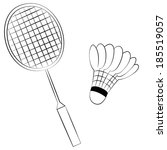 black outline vector badminton... | Shutterstock .eps vector #185519057