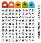 food icons bulk series   100... | Shutterstock .eps vector #185527577