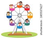 circus ferris wheel. vector... | Shutterstock .eps vector #185537627
