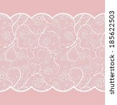 lace pattern with roses on pink ... | Shutterstock .eps vector #185622503