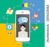 smartphone design concept icons ... | Shutterstock .eps vector #185633063