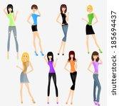 eight fashion girls | Shutterstock .eps vector #185694437