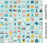 set of 100 vector social media... | Shutterstock .eps vector #185699783