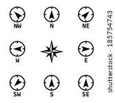 vector black wind rose icons... | Shutterstock .eps vector #185754743